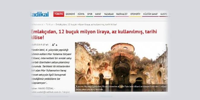 """كنيسة """"مار يوحنا"""" للسريان في ماردين تُعرض للبيع مقابل 12.5 مليون ليرة تركية"""